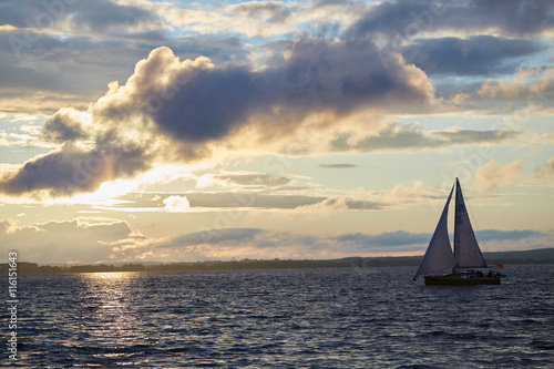 Poster Zeilen beautiful landscape in Belarus sailboat on the river in the suns