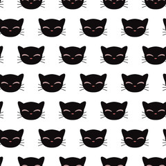 Panel Szklany Kot Seamless pattern with kitty faces. Vector seamless texture for wallpapers, pattern fills, web page backgrounds