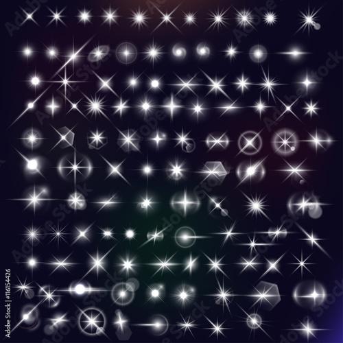 Fotografie, Obraz  Vector star effects set