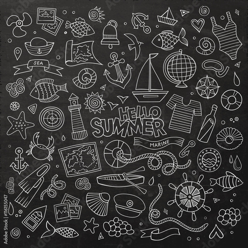 Fotografie, Obraz  Marine nautical chalkboard hand drawn vector symbols and objects