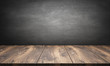 canvas print picture - wooden table with blackboard