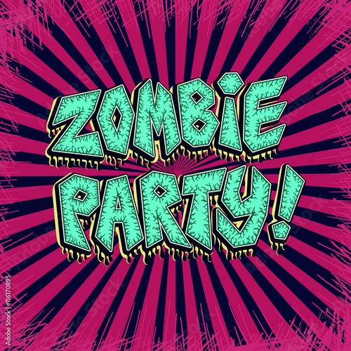 Zombie Party Comics Banner In Pop Art Style Vector