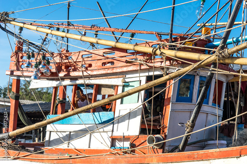 Poster Stadion architecture of fishing boat pattern