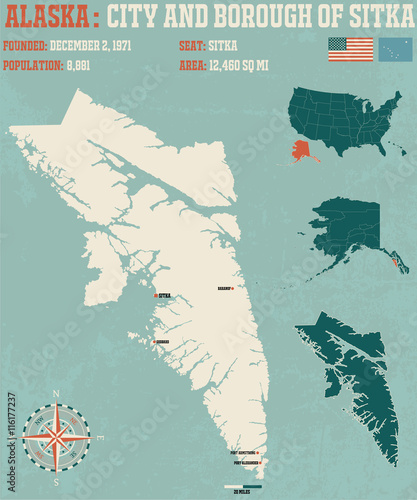 Fotografie, Obraz  Large and detailed infographic of the City and Borough of Sitka in Alaska