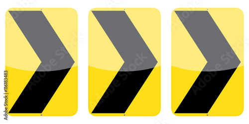 Photo Set of three right chevron alignment vector traffic signs isolated on white back