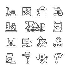 Set Line Icons Of Concrete