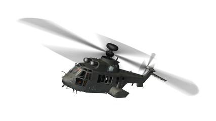 vojni helikopter u letu izoliran na bijelom