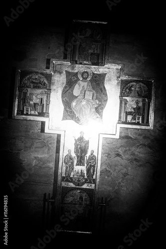 Wall Murals Cemetery Jesus on the Cross in sepia