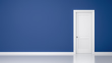 Blue Wall And Door Background For Your Content