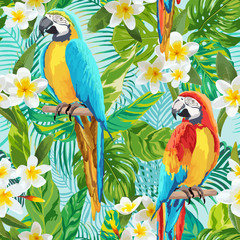 Tropical Flowers and Birds Background - Vintage Seamless Pattern