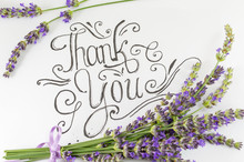 Thank You Card With Lavender Flowers On Table