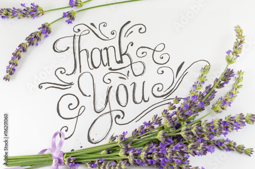 Fotografie, Obraz  Thank you card with lavender flowers on table