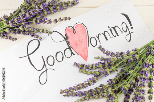 Fotografie, Obraz  Good morning card with lavender on a table