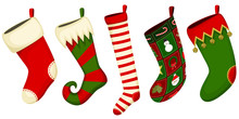 Vector Illustration Of A Variety Of Hanging Christmas Stockings.