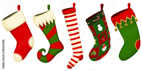 Obraz na plátně Vector illustration of a variety of hanging Christmas stockings.