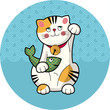 Traditional japanese lucky cat with fish. Maneki-neko. Vector illustration