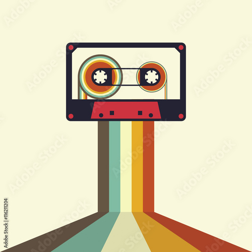 Tablou Canvas Cassette retro vintage style vector illustration