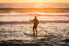 Stand Up Paddler Silhouette At Sunset