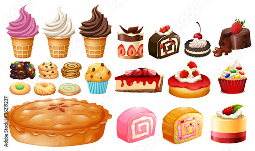 Photo  Set of different kinds of desserts