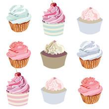 Cupcakes Vector Set Collection