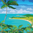 Vector Tropical Beach with Palm trees. Vector summer background card