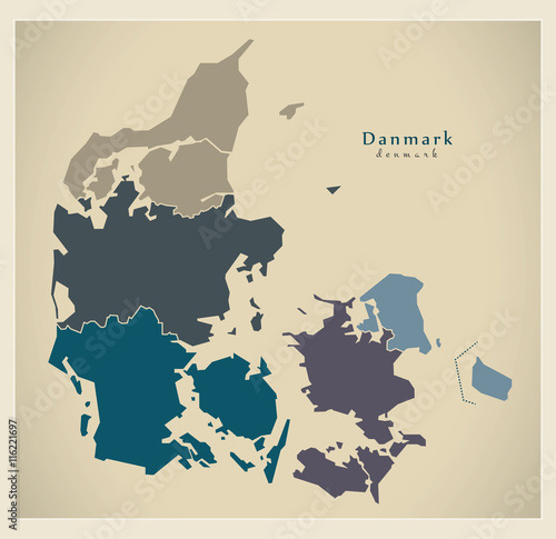 Modern Map - Denmark with regions DK Canvas Print
