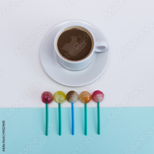 Fotografie, Tablou  Stylish morning with cup of cacao or coffee and sweets