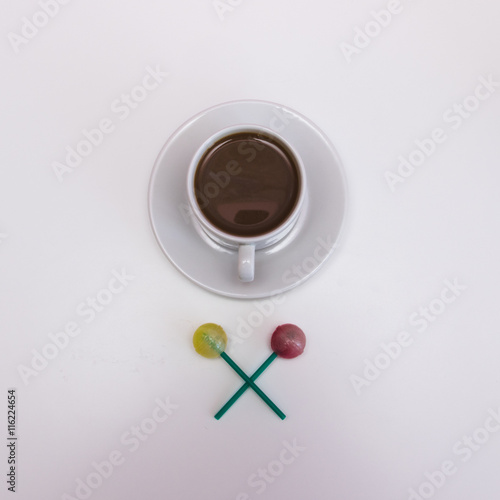 Fotografie, Tablou  Morning cacao in white cup with sweets