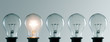 canvas print picture - Row of light bulbs. Idea concept