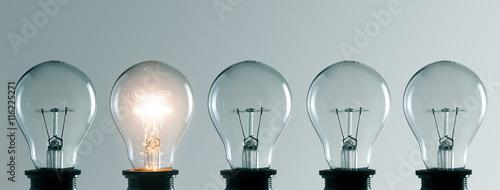 Photo  Row of light bulbs. Idea concept