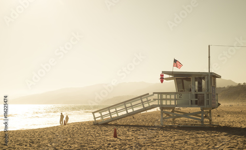 obraz dibond Santa Monica beach lifeguard tower in California USA