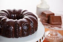 Chocolate Cake With Chocolate Bar Ingredients Set Decoration