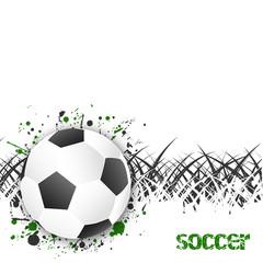 Fototapeta Piłka nożna Soccer (football) vector background with ball and grass.