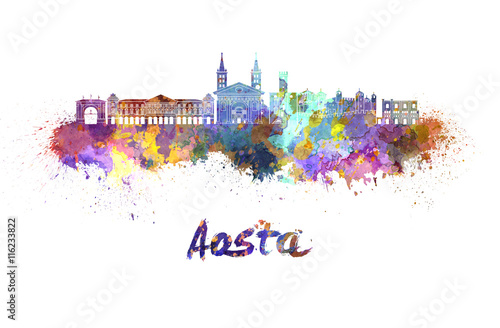 Aosta skyline in watercolor Wallpaper Mural