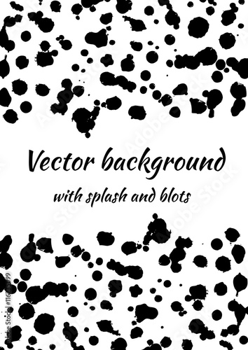 Vector black and white background with ink blots, splash and brush strokes Wallpaper Mural