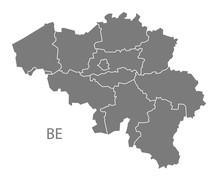 Belgium Regions Map Grey
