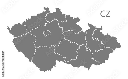 Czech Republic regions Map grey Wallpaper Mural