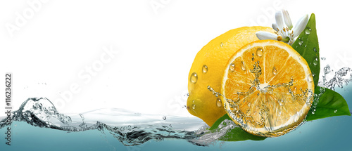 Juicy, ripe citrus lemon on a background of splashing water. Canvas Print