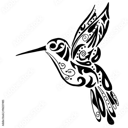 hummingbird for coloring or tattoo isolated on white background Canvas Print