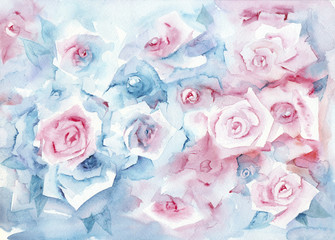 FototapetaWatercolor painting roses. Delicate pastel background with pink and blue flowers.
