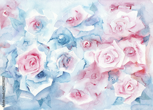Photo  Watercolor painting roses