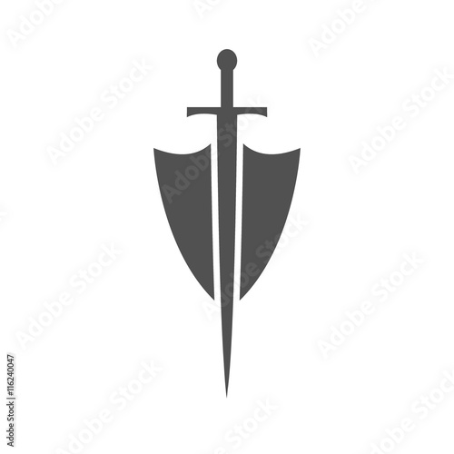 Photographie Shield and sword icon,shield and sword silhouette on a white background