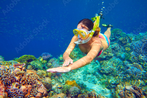 snorkeling woman above the vivid coral reef