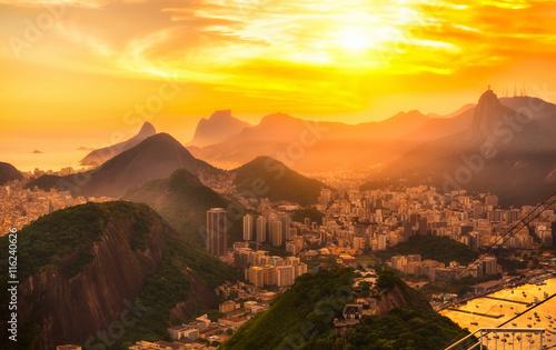 Poster Brésil Sunset view of Botafogo, mountain Corcovado and Christ the Redeemer in Rio de Janeiro. Brazil