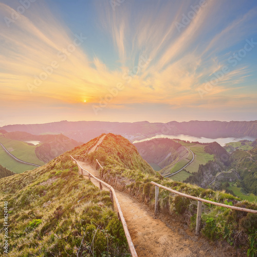 Deurstickers Landschappen Mountain landscape with hiking trail and view of beautiful lakes, Ponta Delgada, Sao Miguel Island, Azores, Portugal