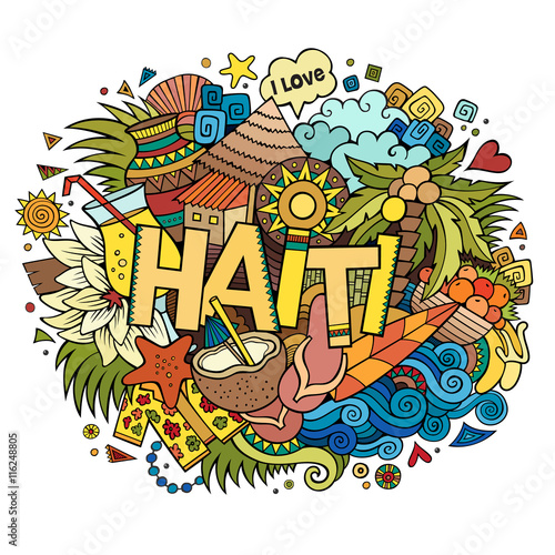 Stampa su Tela Haiti hand lettering and doodles elements