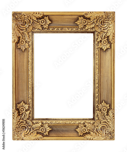 Fotografie, Obraz  The antique gold frame on the white background