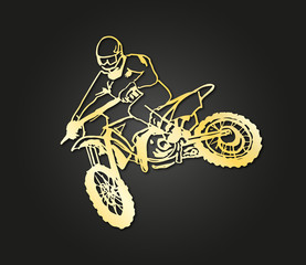 Fototapeta motocross gold design