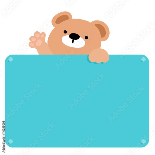 Fotografie, Obraz  Cute brown bear hold blank board vector