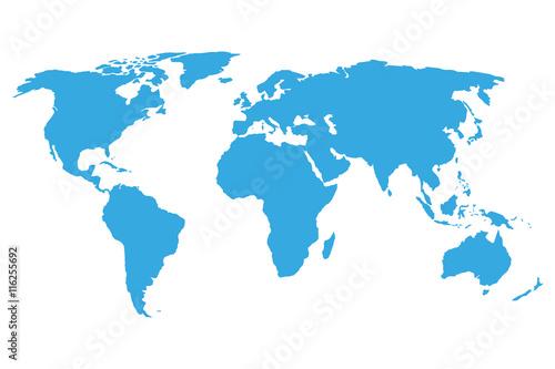 Foto op Aluminium Wereldkaart World map blue on a white background. Vector illustration